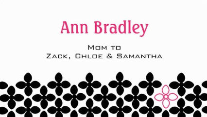Stylish Black and Pink Flower Pattern Mom Calling Card Business Cards