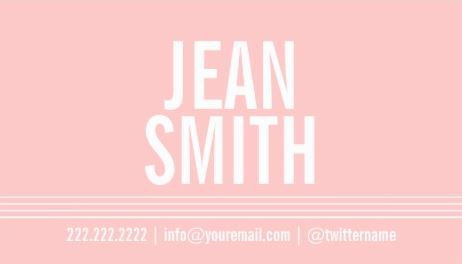 Simple Light Pink Bold Minimal Calling Card Template Business Cards