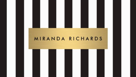 Luxe Bold Black and White Stripes Pattern With Gold Bar Business Cards