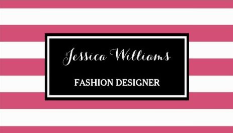 Trendy Hot Pink and Black Horizontal Stripes Fashion Designer Business Cards