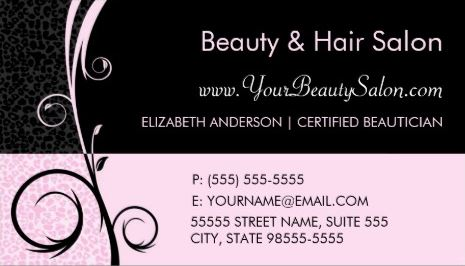 Elegant Leopard Pink and Black Salon Appointment Business Cards