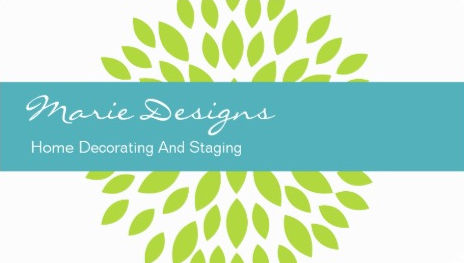 Fresh Green Leaves Chic Teal Stripe Home Decorating and Staging Business Cards