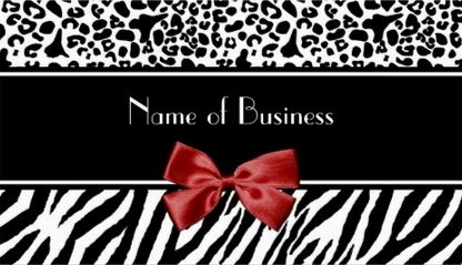 Trendy Black And White Leopard and Zebra Print Red Ribbon Business Cards