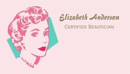 Girly Retro Pink Woman Red Lips Beautician Beauty Salon Business Cards