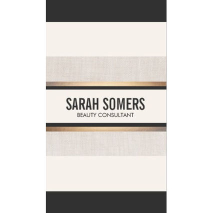 Black and White Striped Gold Chic Beauty Consultant Professional Business Cards