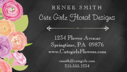 Cute Floral Art on Chalkboard Pretty Floral Design Business Cards