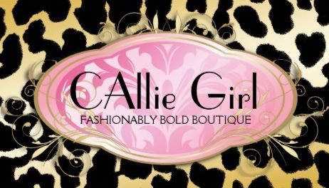 Bodacious Boutique Pink Parisian Golden Leopard Print Business Cards