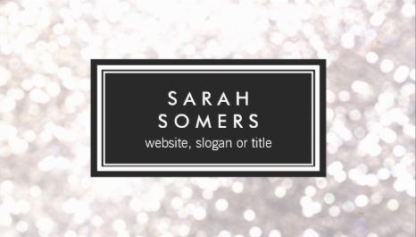 Trendy White Glitter Bokeh Stylish Black Plaque Business Cards