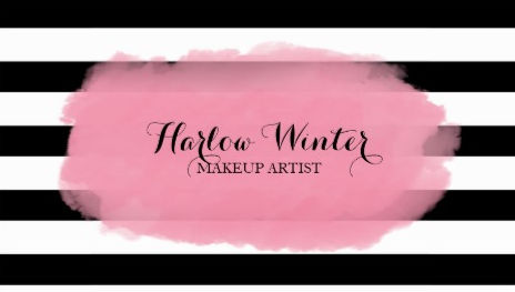 Chic Pink Watercolor Black and White Makeup Artist Business Cards