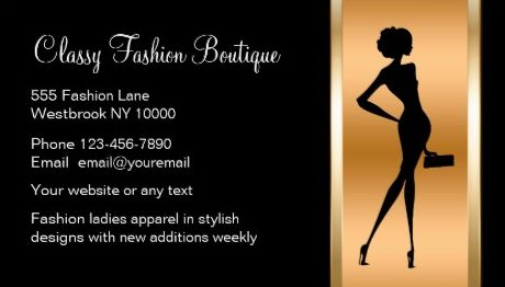 Classy Black and Gold Silhouette Ladies Fashion Boutique Business Cards