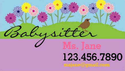 Girly Spring Daisy Flowers Cute Babysitter Business Cards