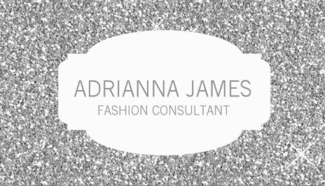 Modern Faux Silver Sparkle Glitter Fashion Consultant Business Cards