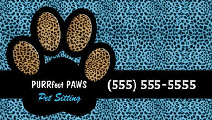 Girly pet sitting and pet care business cards girly business cards trendy blue cheetah print perfect paws pet sitter business cards colourmoves