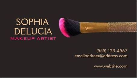 Elegant Professional Makeup Artist Gold Pink Makeup Brush Business Cards