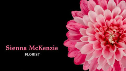 Beautiful Pink Flower on Chic Black Background Florist Business Cards