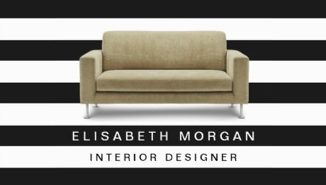 Interior Designer Home Staging Classic Stripes With Couch Business Cards