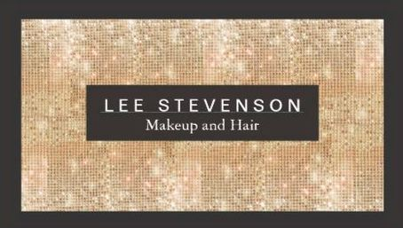 Luxury Gold Sparkly Faux Sequins Makeup Artist Salon Business Cards