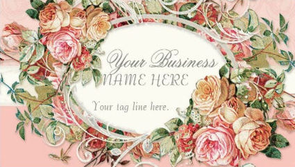 Vintage Antique Roses Floral Bouquet With Modern Swirls Business Cards