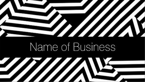Trendy Black and White Geometric Stripe Certified Beautician Business Cards