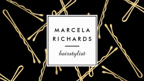 Girly hair salon business cards page 1 girly business cards chic black and gold bobby pins hairstylist for hair salon business cards colourmoves