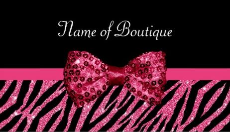 Chic Boutique Pink Glitter Zebra Print Luxe Bow Business Cards