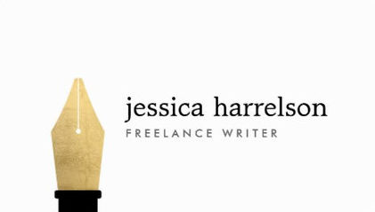 Elegant Faux Gold Pen Nib Simple Freelance Writer Business Cards