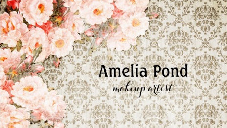 Chic Old Fashioned Roses Pink Floral Makeup Artist Business Cards