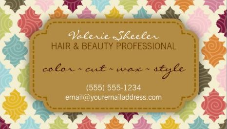 Colorful Quatrefoil Hair and Beauty Appointment Card Business Cards