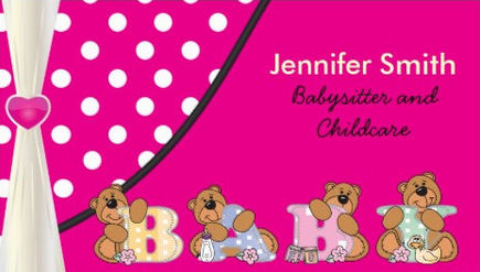 Cute Hot Pink Polka Dots Baby Bears Babysitter and Childcare Business Cards