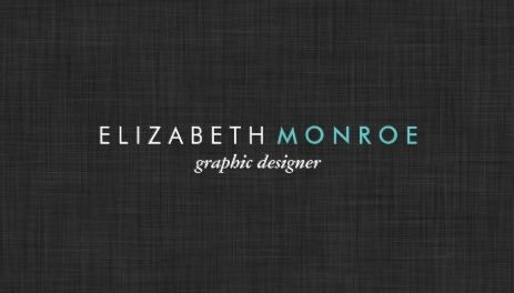 Charcoal Gray Linen Texture Sleek Simple Aqua Text Template Business Cards
