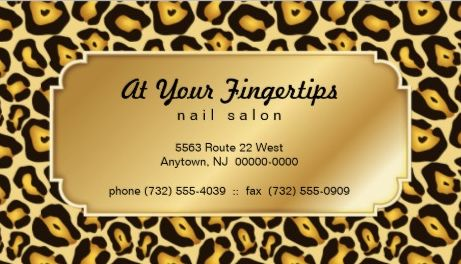Elegant Gold Jaguar Print Nail Salon Appointment Reminder Business Cards
