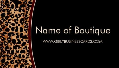 Trendy Brown Grunge Leopard Print Modern Boutique Business Cards
