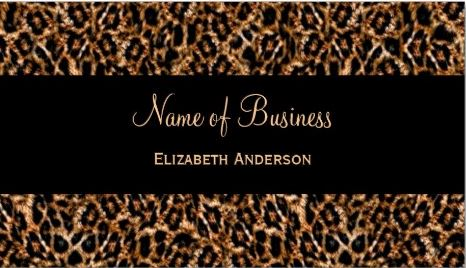 Stylish Brown Fur Leopard Print Luxury Animal Pattern Business Cards