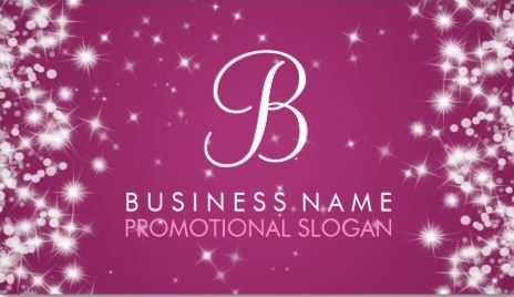 Simple Sparkle Monogram Elegant Berry Pink Business Cards