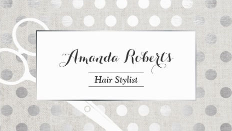 hair stylist chic silver dots elegant linen business cards - Stylist Business Cards