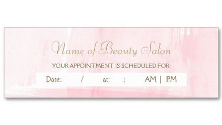 Simple Pink Gold Watercolor Feminine Appointment Reminder Business Cards