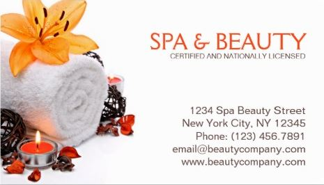 Spa Massage Orange Lily Wellness And Beauty Salon Business Cards