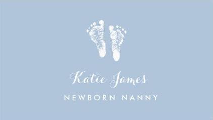 Certified Nanny Simple Newborn Baby Footprints Business Cards
