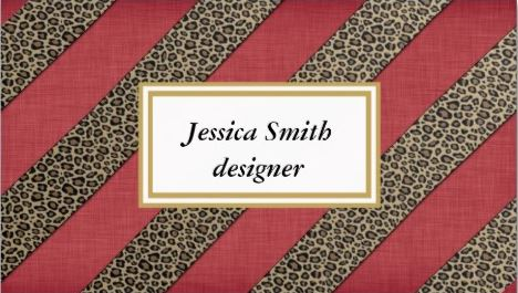 Professional Red Elegant Animal Print Leopard Stripes Business Cards