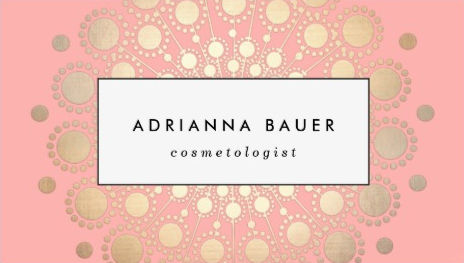 Stylish Faux Gold Foil Circle Motif Pink Cosmetologist Business Cards