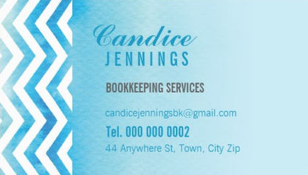 Modern Light Blue Watercolor Chevron Bookkeeping Services Business Cards