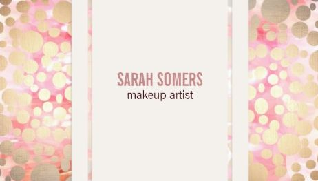 Chic Faux Pink and Gold Leaf Circle Pattern Makeup Artist Business Cards
