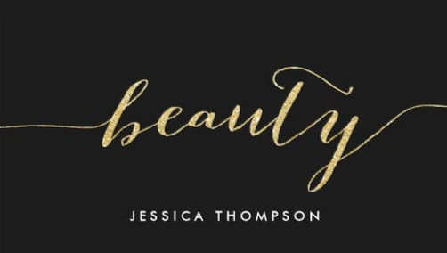 Elegant Black Faux Gold Glitter Cosmetology Beauty Business Cards