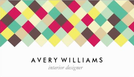Dive Into Color Diagonal Tiles Interior Designer Business Cards