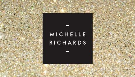 Modern and Sophisticated Black Box on Gold Glitter Background Business Cards