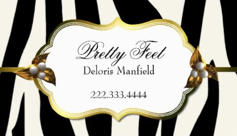 Elegant Black and White Zebra Print Fancy Gold Frame Business Cards