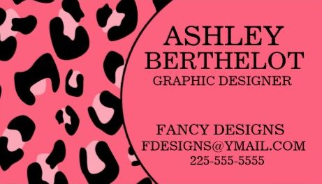 Modern Hot Pin and Black Leopard Print Graphic Designer Business Cards