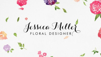 Whimsical Pink Watercolor Flowers Floral Designer Business Cards