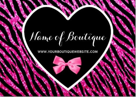 Girly Glam Heart Pink and Black Zebra Print Glitter Boutique Business Cards