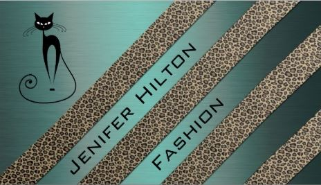 Professional Luxury Metal Look Teal Diagonal Leopard Stripes Cat Business Cards